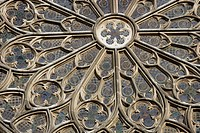 Rose Window at Santa María del Pi Church, Barcelona, Catalonia, Spain