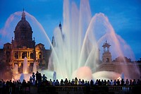 Palau Nacional and Magic fountain at Montjuich, Barcelona, Catalonia, Spain