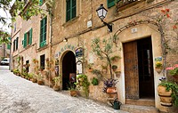 Street with residential houses at Valldemossa, Tramuntana Mountains, Mallorca, Balearic Islands, Spain, Europe
