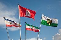 Flags of Mecklenburg_Western Pomerania, Hamburg, North Rhine_Westphalia, Saxony, Wyk, Foehr island, Schleswig_Holstein, Germany