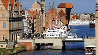 View at long bridge and Mottlau river, Rechtstadt, Gdansk, Poland, Europe