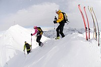 Skitouring, Duerrenstein, Hochpuster Valley, South Tyrol, Italy,