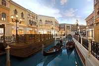 Canal with gondola at Venetian Casino Resort, Macao, Taipa, China, Asia