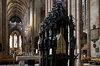 Tomb of St Sebaldus in St. Sebaldus church, Sebalduskirche in Nuremberg, Nuremberg, Bavaria, Germany, Europe