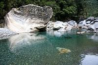 Riverbed and rocks at the Taroko gorge at Taroko National Park, Marble canyon, Liwu river, Tienhsiang, Tianxiang, Republic of China, Taiwan, Asia