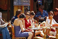 People at a street cafe, Saint Germain, Paris, France, Europe