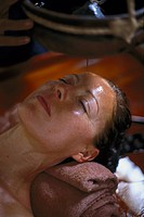 Woman during spa treatment with oil, Ayurveda, Sri Lanka, Asia