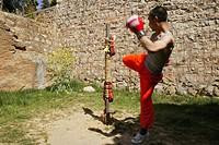 Kung Fu student kick boxing training, Song Shan, Henan province, China, Asia