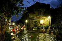 People bathing in a pool of hot springs in the evening, Sichongxi, Sichongshi, Kending, Kenting, Republic of China, Taiwan, Asia