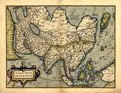 Ortelius´s map of Asia. This map is from the 1570 first edition of Theatrum orbis terrarum ´Theatre of the World´. Drawn by the Flemish mapmaker Abrah...