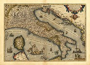 Ortelius´s map of Italy. This map is from the 1570 first edition of Theatrum orbis terrarum ´Theatre of the World´. Drawn by the Flemish mapmaker Abra...
