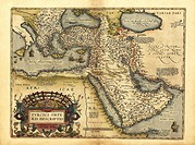 Ortelius´s map of the Ottoman Empire. This map is from the 1570 first edition of Theatrum orbis terrarum ´Theatre of the World´. Drawn by the Flemish ...