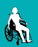 Isolation through disability, conceptual artwork, Computer image of a cut_out of a person sitting in a wheelchair, representing the social isolation f...