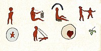 Native American love song pictogram. Pictograms are an early form of writing. Here each pictogram corresponds to a verse of the song. The top row from...
