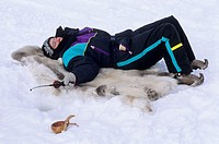 Norway, Finnmark, Kautokeino, Easter festival, Ice fishing
