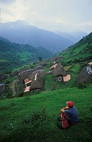 Typical huts of Brañas la Parnacal Natural Park of Somiedo Asturias Spain