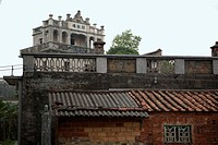 Diaolou and old houses at Fuhe Village, Kaiping, Guangdong Province, China
