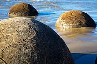 New Zealand, Otago, Moeraki Boulders  The famous spherical Moeraki boulders on the North Otago coast