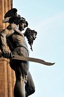 Florence, Tuscany, Italy  Perseus with the Head of Medusa  Statue by Cellini in the Loggia dei Lanzi, Piazza della Signoria