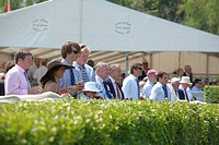 England, Oxfordshire, Henley_on_Thames, Spectators at the riverside by a hospitality marquee watching a race at the annual Henley Royal Regatta.