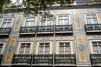 Facade of house in the neighborhood of Alfama, Lisbon, Portugal