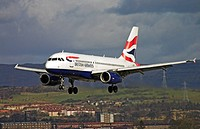 Scotland, Renfrewshire, Glasgow, A British Airways jet landing.