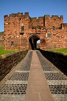 England, Cumbria, Carlisle, Entrance to Carlisle Castle in Cumbria