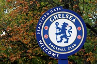 England, London, Stamford Bridge, Chelsea football club sign near Stamford Bridge in London