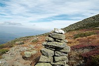 Appalachian Trail- Rock cairn on Gulfside Trail during the autumn months in the scenic landscape of the White Mountains, New Hampshire USA  Notes: