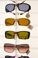 Sunglasses on display rack