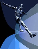 Digital man leaping