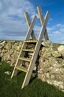 ESHA NESS SHETLAND Country walkers stile ladder over dry stone dyke