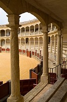 Bullring RONDA SPAIN Spectators balcony gallery inside bullfighting arena