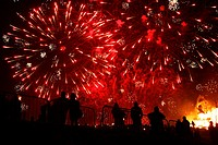 Scotland, City of Edinburgh, Edinburgh, Fireworks at the Calton Hill Bonfire in Edinburgh