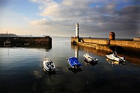 Scotland, City of Edinburgh, Edinburgh, Boats and fishing vessel moored at the Port of Leith in Edinburgh