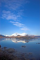 Scotland, Highland, Rannoch Moor, Black Mount reflected in Loch na h_achlaise on Rannoch Moor