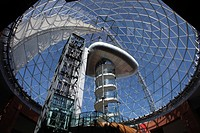 Northern Ireland, County Antrim, Belfast, The elevator and viewing platform inside the large glass dome on top of the Victoria Shopping Centre in Belf...