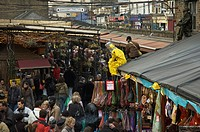 England, London, Camden Town, Overlooking crowds at Stables Market in Chalk Farm Road.