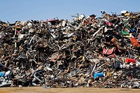quebec, canada, pile of discarded household and industrial items at a scrap metal recycling junkyard