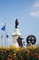 old quebec city, quebec, canada, samuel de champlain monument on dufferin terrace in the upper town area