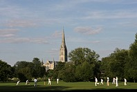 England, Wiltshire, Salisbury, A cricket match being played on a pitch close to Salisbury Cathedral.