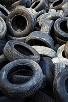 quebec, canada, pile of discarded tires at a recycling yard