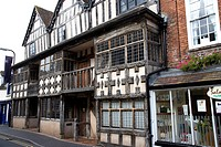 England, Shropshire, Much Wenlock, Tudor building on Much Wenlock High Street.