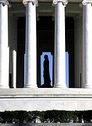 USA, Washington D C , Jefferson Memorial, silhouette of Thomas Jefferson statue