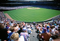 Wide angle view from outfield seating area at Wrigley Field in Chicago, Illinois