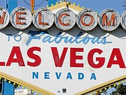 Close-up of the Welcome to Las Vegas sign on the Las Vegas Strip