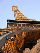 View from below of the Eiffel Tower at the Paris Las Vegas Casino and Hotel on the Vegas Strip