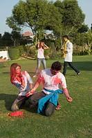 Friends celebrating Holi