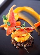 Trio of Scallops on Curried Lentils, Butternut Squash Puree and Crispy Parma Ham
