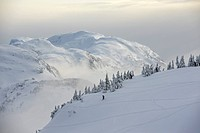 Snowboarders and skiers enjoy the freshly snow covered east_side of the Eaglecrest Ski area in Juneau, Alaska